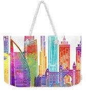 Dubai Landmarks Watercolor Poster Weekender Tote Bag
