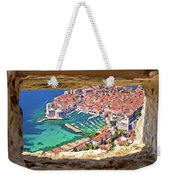 Dubrovnik Historic City And Harbor Aerial View Through Stone Win Weekender Tote Bag