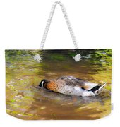 Duck Submerge It Head Into The Water Looking For Food In The River 2 Weekender Tote Bag
