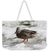 Duck Walking On Thin Ice Weekender Tote Bag