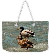 Ducks On Ice Weekender Tote Bag