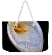 Dew Drops On Silver White Calla Lily  Weekender Tote Bag