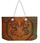 Dueling Dragons In An Octagon Frame With Chinese Dragon Characters Yellow Tint Distressed Weekender Tote Bag
