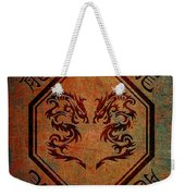 Dueling Dragons In An Octagon Frame With Chinese Dragon Characters Yellow Tint  Weekender Tote Bag