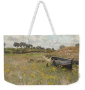 Dune Landscape With Children And Sheep Weekender Tote Bag