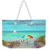 Dunes Beach Colorful Umbrella Weekender Tote Bag