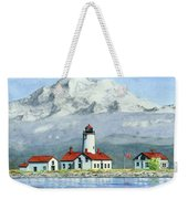 Dungeness Lighthouse With Mount Baker Weekender Tote Bag