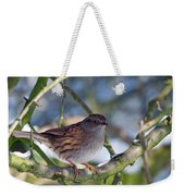 Dunnock On A Snowy Day In Winter Weekender Tote Bag