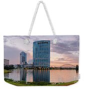 Dusk Panorama Of The Woodlands Waterway And Anadarko Petroleum Towers - The Woodlands Texas Weekender Tote Bag