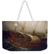 Dutch Battleship In A Storm Weekender Tote Bag by Hendrick Cornelisz Vroom