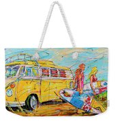 Dutch Holiday, Yellow Surf Bus Weekender Tote Bag
