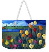 Dutch Tulips With Landscape Weekender Tote Bag