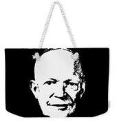 Dwight D. Eisenhower White On Black Pop Art Weekender Tote Bag