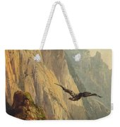 Eagle Circling Before A Cliff Face Weekender Tote Bag