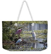 Eagle Lakes Park - Roseate Spoonbill And Friends, Socializing Weekender Tote Bag