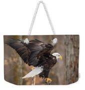 Eagle Landing On Perch Weekender Tote Bag