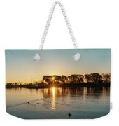 Early Birds In Teal And Orange Weekender Tote Bag