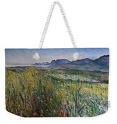 Early Morning Fog In The Foothills Of The Overberg Range Of Mountains Near Heidelberg South Africa. Weekender Tote Bag