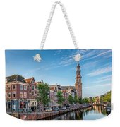 Early Morning In Amsterdam With Canal Weekender Tote Bag