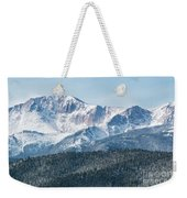 Early Morning Snow On Pikes Peak Weekender Tote Bag