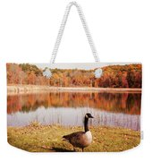 Earth Tone Autumn Pond Goose Weekender Tote Bag