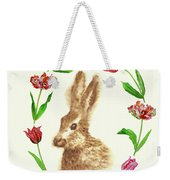 Easter Background With Rabbit Weekender Tote Bag