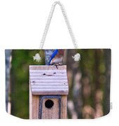 Eastern Bluebird Perched On Birdhouse 3 Weekender Tote Bag