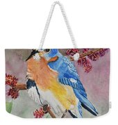 Eastern Bluebird Vertical  Weekender Tote Bag