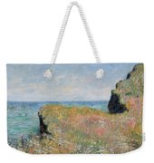 Edge Of The Cliff Pourville Weekender Tote Bag by Claude Monet