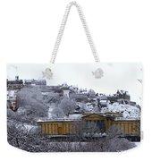 Edinburgh Castle And National Galleries Of Scotland In Winter Weekender Tote Bag
