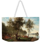 Edvard Bergh, Summer Landscape With Cattle And Birches. Weekender Tote Bag