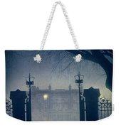 Eerie Mansion In Fog At Night Weekender Tote Bag