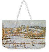 Effect Of Snow At Eragny Weekender Tote Bag by Camille Pissarro