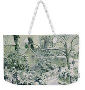 Effect Of Snow With Cows At Montfoucault Weekender Tote Bag by Camille Pissarro