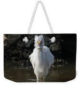 Egret Catches A Stickleback Weekender Tote Bag