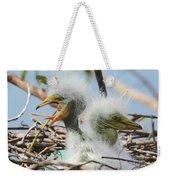 Egret Chicks In Nest With Egg Weekender Tote Bag