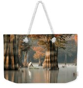 Egret Enjoying Foggy Morning In Atchafalaya Weekender Tote Bag