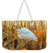 Egret Fishing In Sunset At Forsythe National Wildlife Refuge Weekender Tote Bag