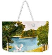 Egret Flying Over Texas Landscape Weekender Tote Bag