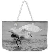 Egret Hunting In Black And White Weekender Tote Bag
