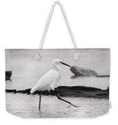 Egret Step In Black And White Weekender Tote Bag