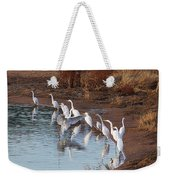 Egrets Gathering For Fishing Contest. Weekender Tote Bag