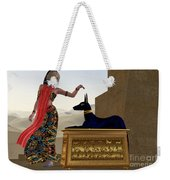 Egyptian Woman And Anubis Statue Weekender Tote Bag