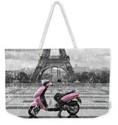Eiffel Tower In The Rain With Pink Scooter Of Paris. Black And W Weekender Tote Bag