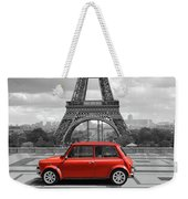 Eiffel Tower With Car. Black And White Photo With Red Element. Weekender Tote Bag
