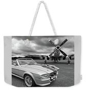 Eleanor Mustang With P51 Black And White Weekender Tote Bag