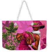 Elegant Pink And Green Weekender Tote Bag