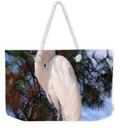 Elegant White Crane Weekender Tote Bag