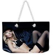 Elegant Young Woman In Black Lingerie Weekender Tote Bag