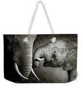 Elephant Affection Weekender Tote Bag